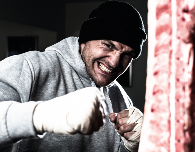Tyson Fury Punching a slab of meat in a Rocky-style training montage (Malcolm Griffiths)