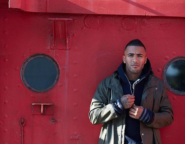 Danny Simpson fashion shoot FS magazine wearing Samsoe & Samsoe, BooHooMan, Jigsaw ()