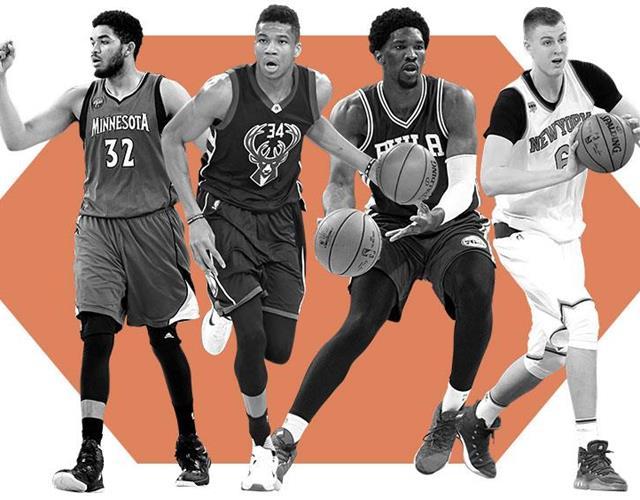 Joel Embiid, Kristaps Porzingis, Giannis Antetokounmpo, Karl-Anthony Towns NBA's young big men ()