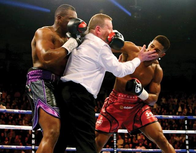 Anthony Joshua and Dillian Whyte fight over referee (Getty)