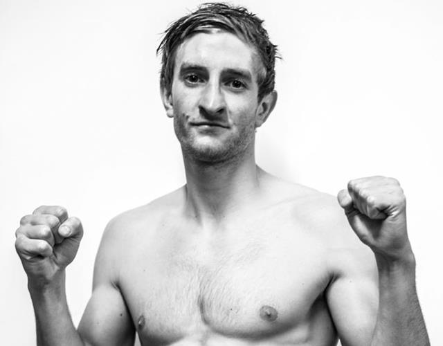 Greg Wootton Muay Thai fighter in black and white ()