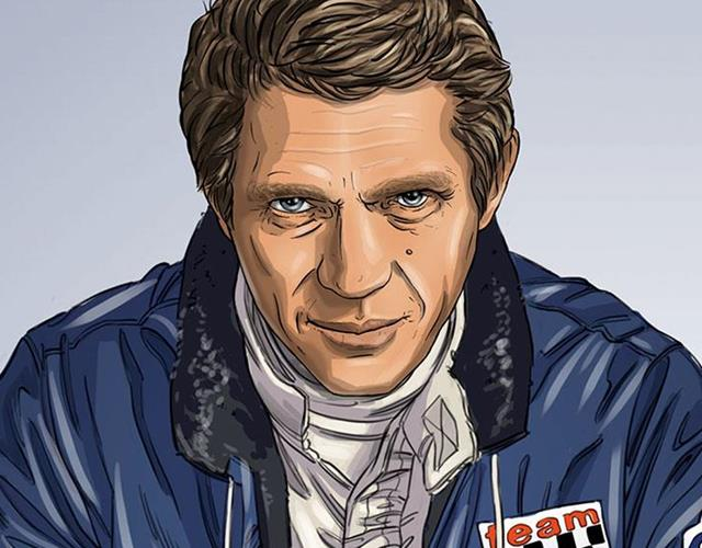 Steve McQueen in Le Mans graphic novel portrait ()