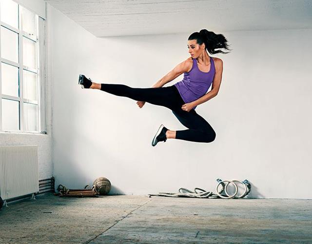 Bianca Walkden Taekwondo flying kick FS magazine photoshoot ()