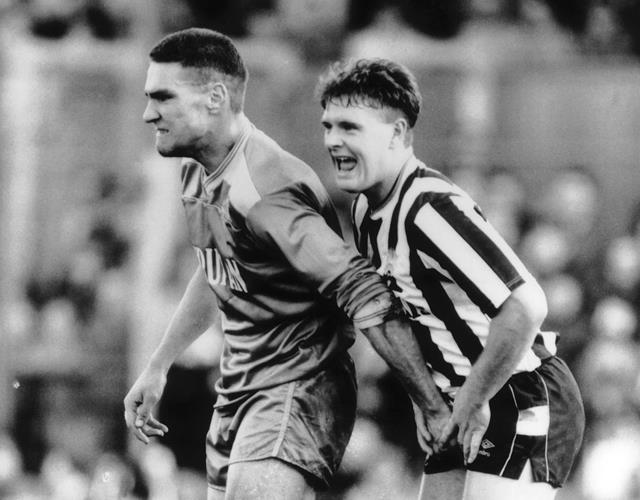 Vinnie gets to grips with Gazza at St James' Park in 1987 (Action Images)