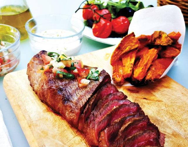Picanha and sweet potato wedges ()