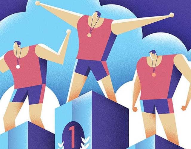 Athletes on a podium illustration (Dale Edwin-Murray)