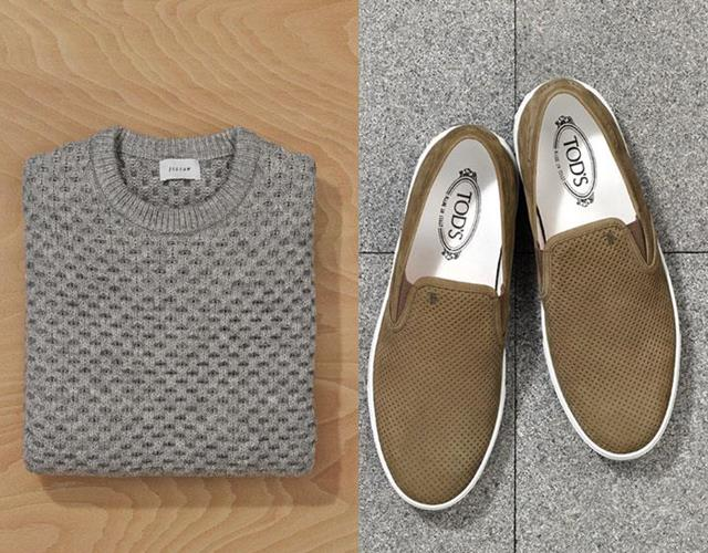 Jigsaw jumper, Tod's shoes  ()