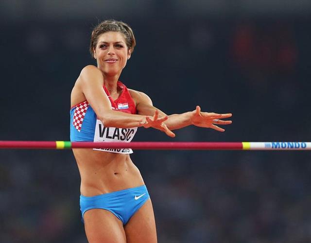 Blanka Vlasic dancing at high jump ()