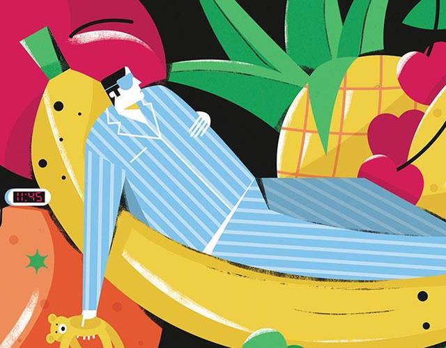 Man sleeping on a banana illustration (Dale Edwin Murray)