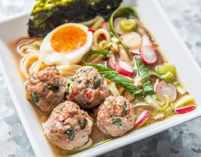 Tokyo pork ramen and spicy meatballs ()