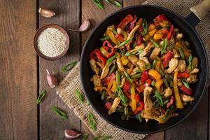 Chicken, pepper stir-fry ()
