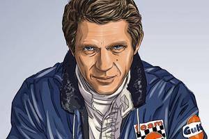 Steve McQueen in Le Mans graphic novel portrait ()