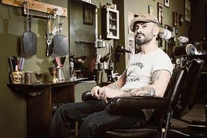 Rocket Barbers in peckham. Roberto Mereu in FS magazine shoot ()