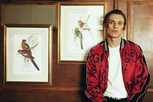 Jamie Campbell Bower wearing Gucci jacket for FS Magazine style shoot ()