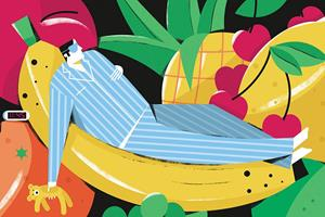 Man sleeping on a banana illustration (Dale Edwin Murray)