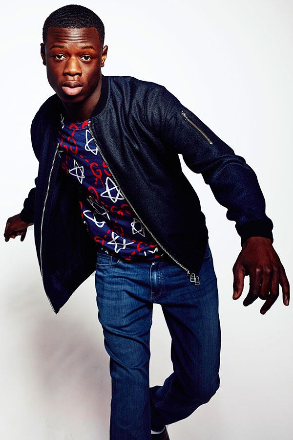J Hus wearing gucci t-shirt for FS magazine style shoot  ()