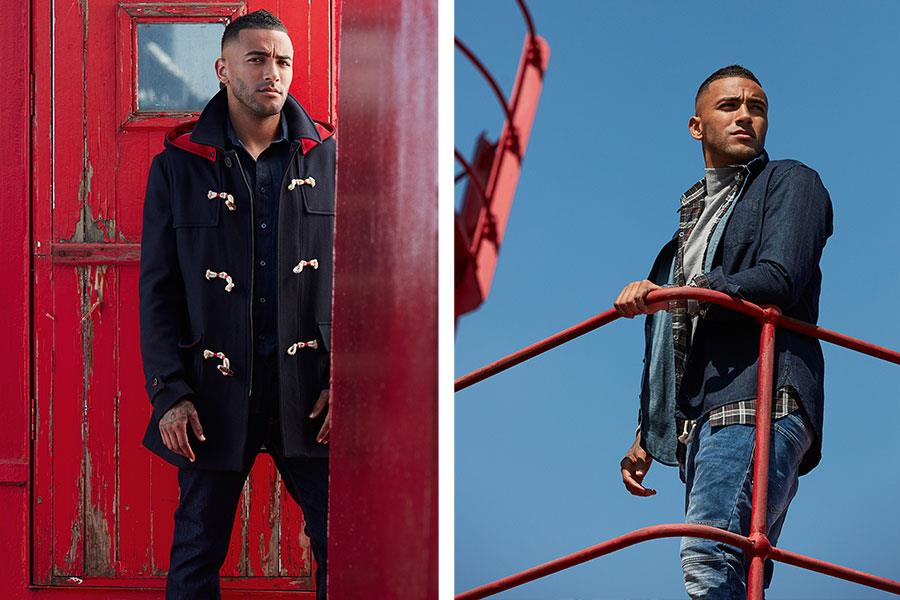 Danny Simpson fashion shoot FS magazine wearing El Ganso, Paul Smith, Saint Laurent ()