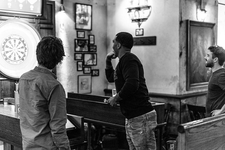 Troy Deeney plays darts with FS magazine ()