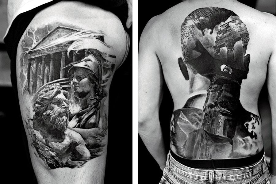 Black and white back tattoo ()