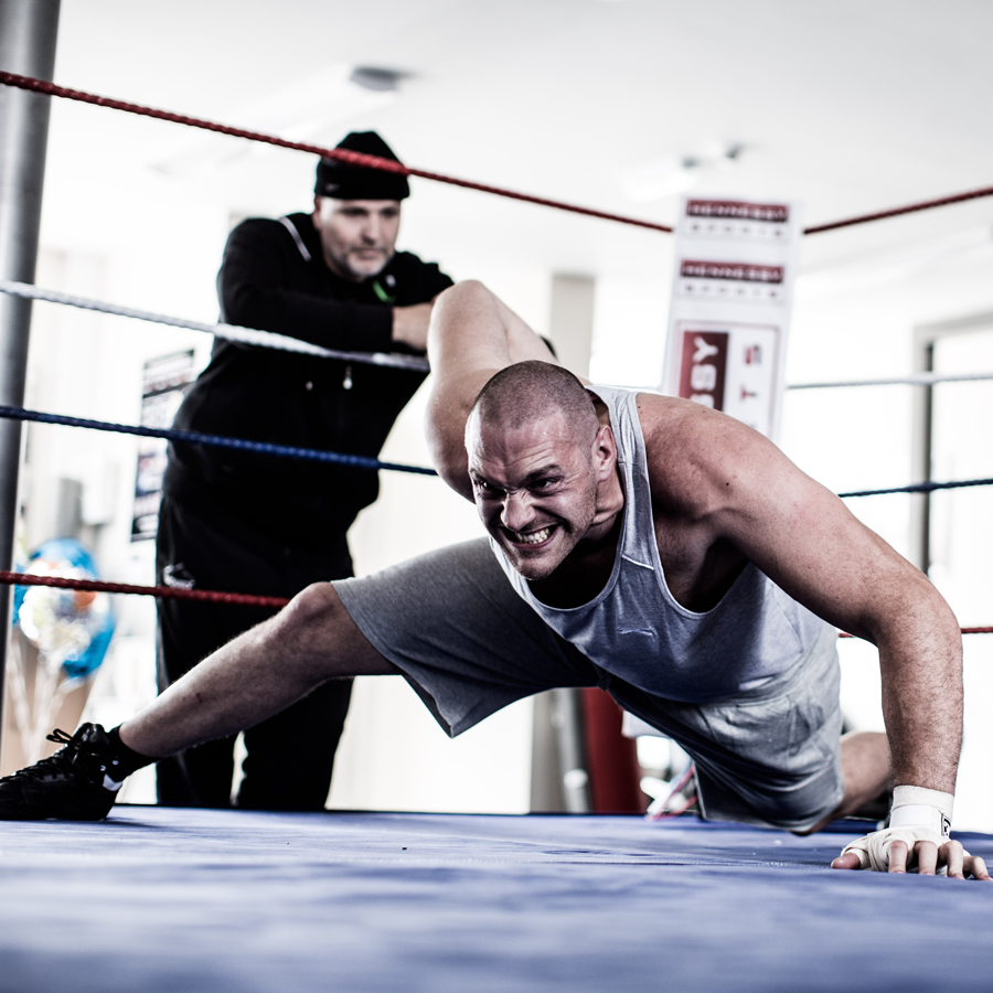 Tyson Fury doing one-handed push-ups in a Rocky-style training montage (Malcolm Griffiths)