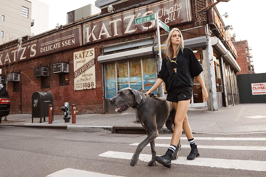 Cara Delevingne walking dog Puma DO YOU campaign ()