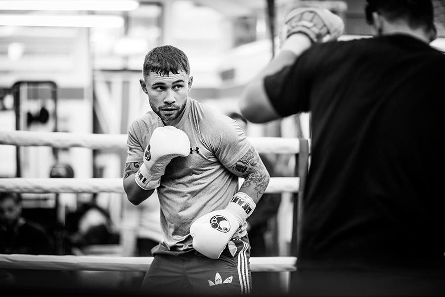 Carl Frampton pad work with Shane McGuigan for FS magazine photoshoot ()