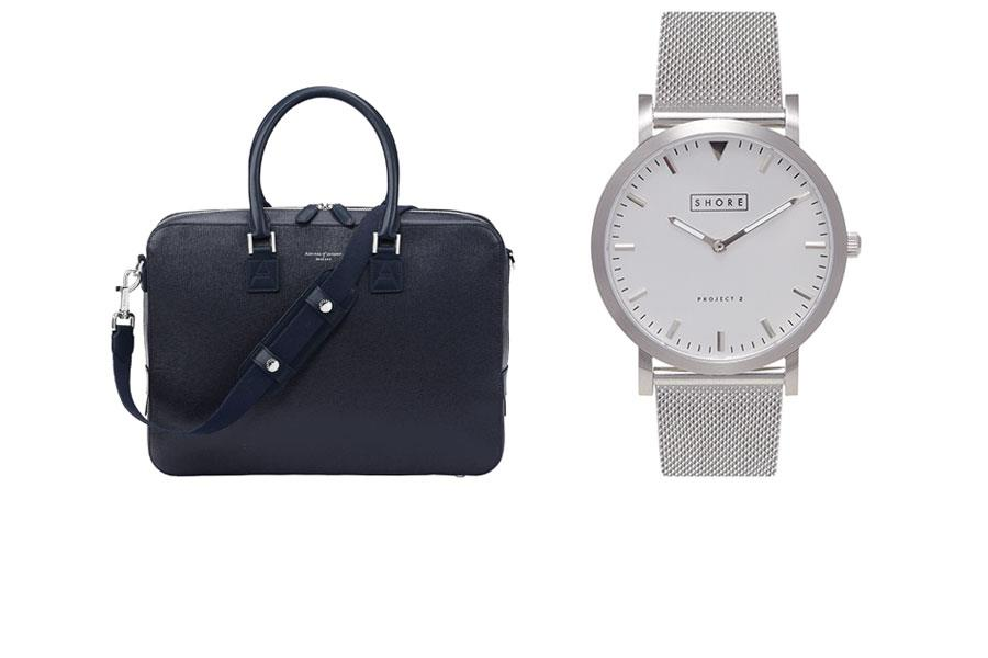 Silver metal watch shore, Blue leather bag Aspinall of London ()