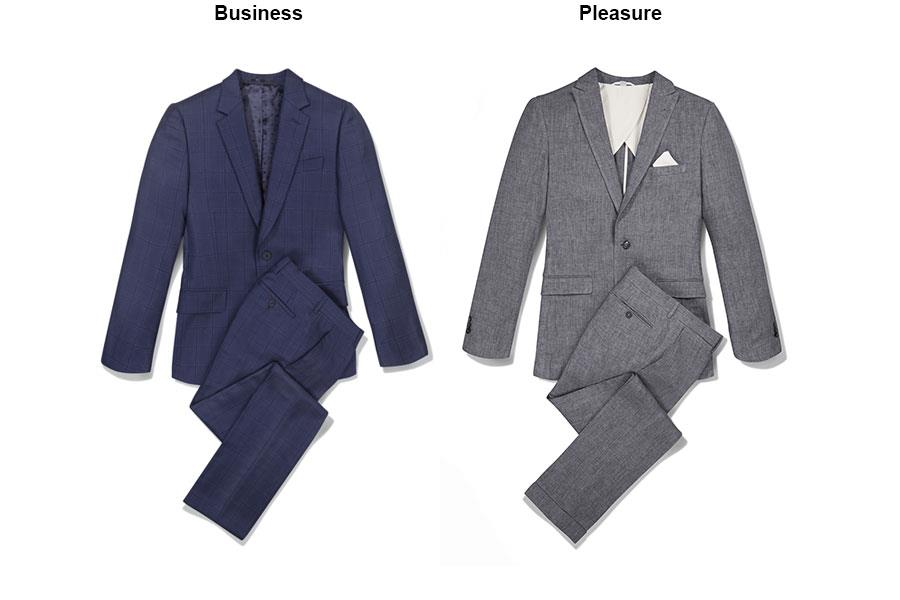Blue Checked suit Paul Smith, Grey linen suit jacket ()
