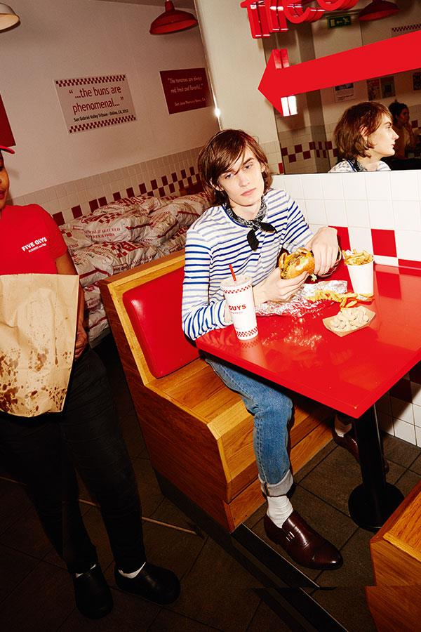 Two guys at Five Guys FS magazine style shoot. Vivien wearing Stone Island jeans from Flannels  ()