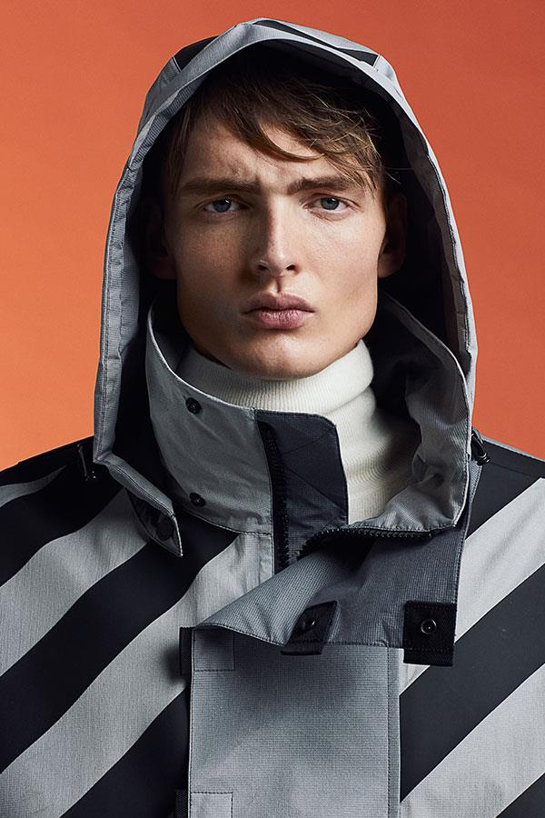 FS Magazine spring outwear fashion shoot. Moncler x Off White raincoat at Flannels ()