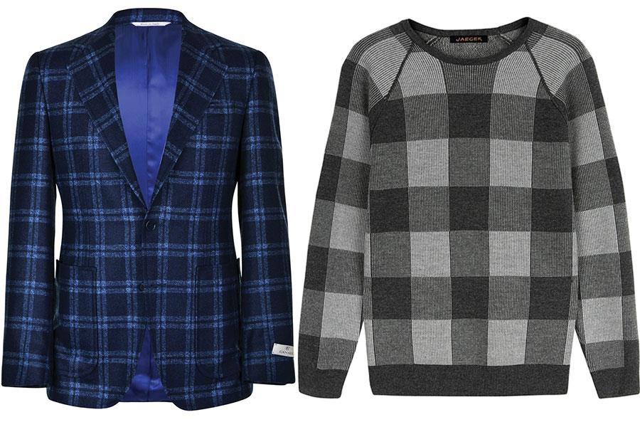 Checked blazer Canali at flanels, Checked jumper Jaeger ()