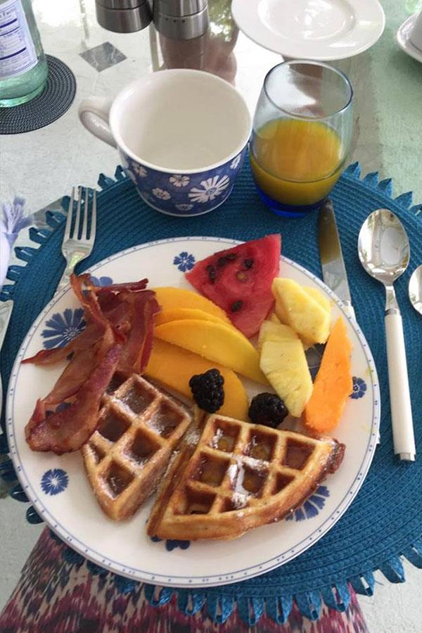 Breakfast in barbados. Fruit waffles and bacon  ()