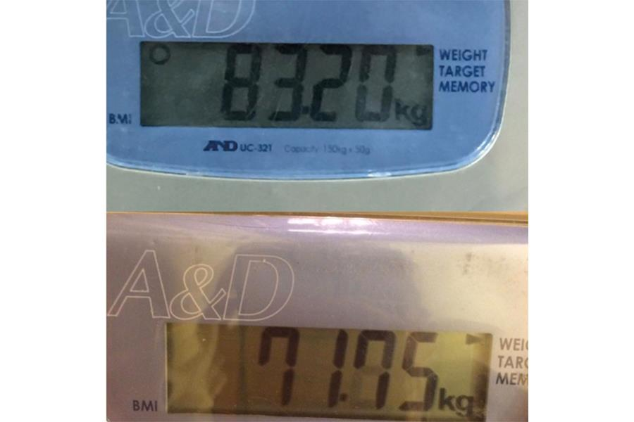 Wigggins weight before and after images (Wiggins' Instragram pic of his weight on 12th May 2014 and 2nd Jan 2016)