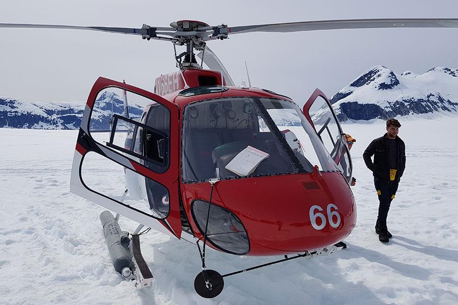 Helicopter landing on Norris Glacier in Juneau Alaska ()
