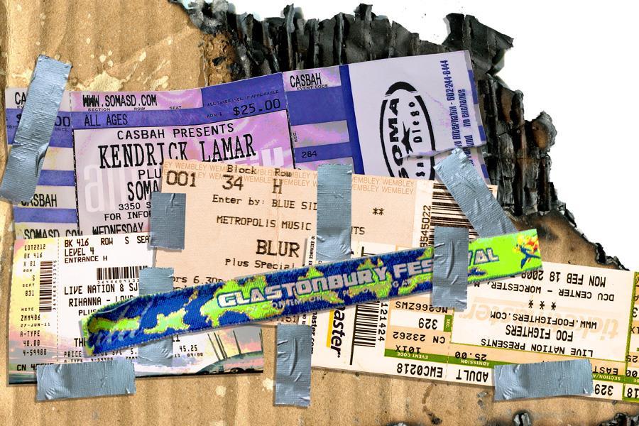 Gig tickets scrap book ()