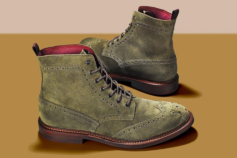 Olive Green suede brogue boot Office FS magazine ()