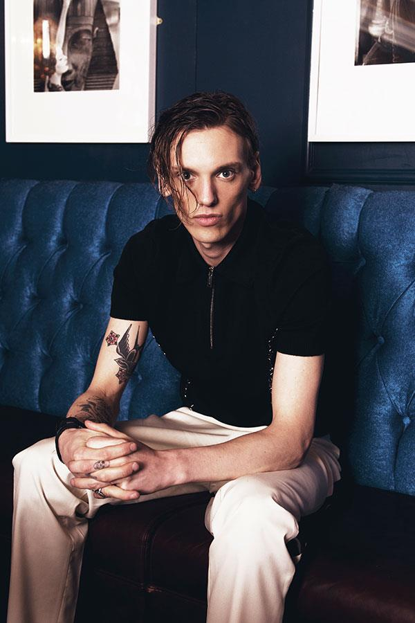 Jamie Campbell Bower wearing black Dsquared2 for FS Magazine and flannels fashion shoot ()
