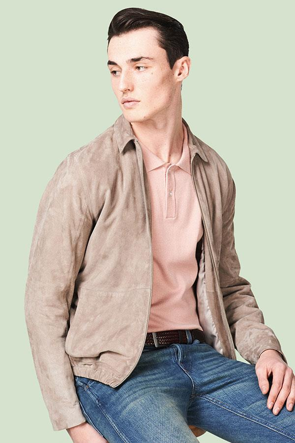 Suede sports jacket with slim-fit knit FS magazine ()