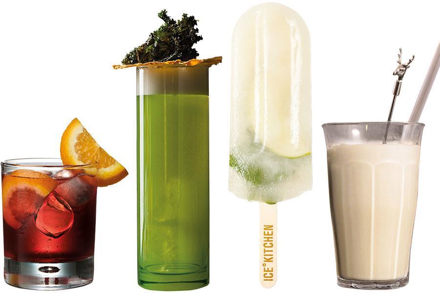 Pina Kale-ada, Negroni Sbagliato, Ice Kitchen Mojito poptail, Jäger shake ()