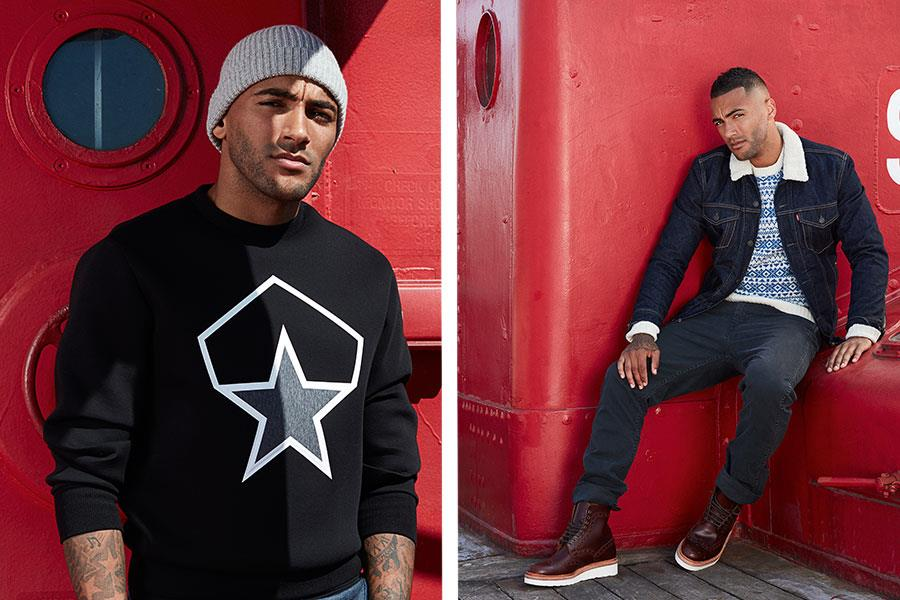 Danny Simpson fashion shoot FS magazine wearing Moncler, Grenson ()