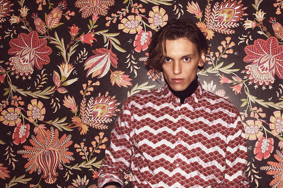 Jamie Campbell Bower wearing Scotch and Soda shirt for FS Magazine and Flannels fashion shoot ()
