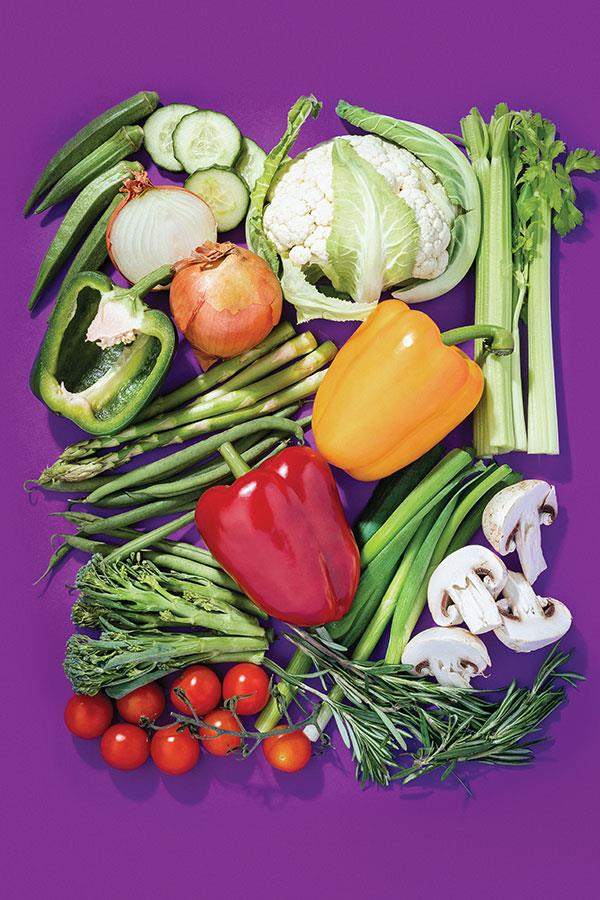 Vegetables on a purple background ()