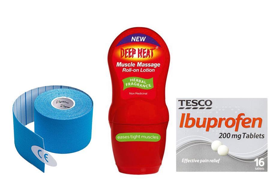 Kinesiology, Ibuprofen and deep heat ()