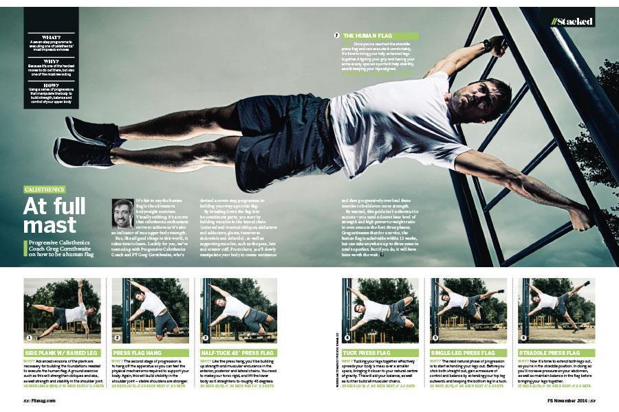Greg Cornthwaite human flag FS magazine ()