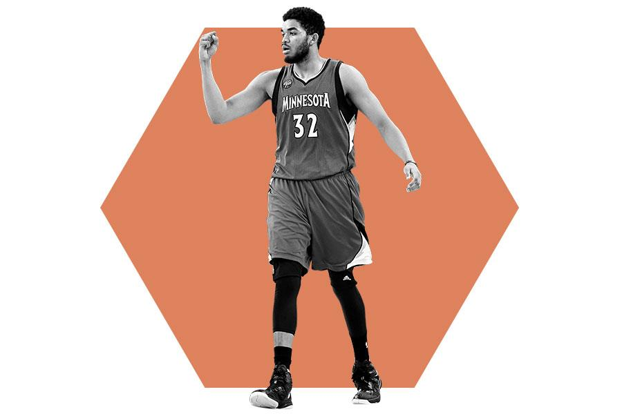 Karl-Anthony Towns fist pumps in celebration ()