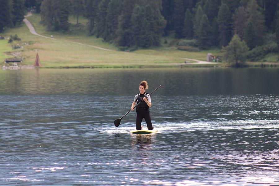 Sandra Marques paddle boarding Lake St Moritz Switzerland for FS magazine ()