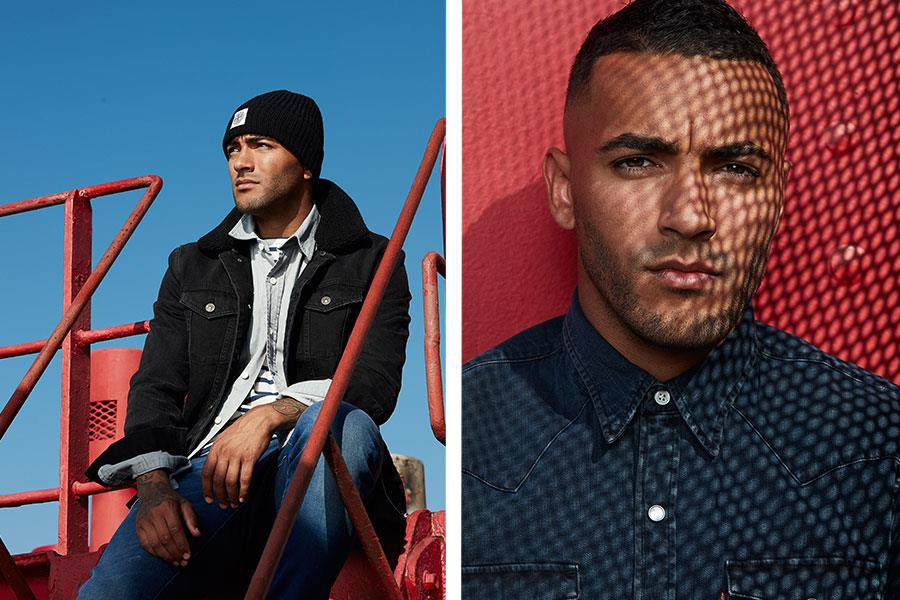 Danny Simpson fashion shoot FS magazine wearing Stone Island, Tommy Hilfiger and Levi's ()