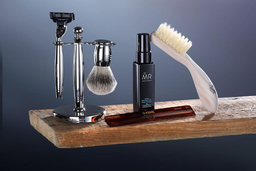 Penhaligon's shaving set, MR beard oil, Kent beard brush ()