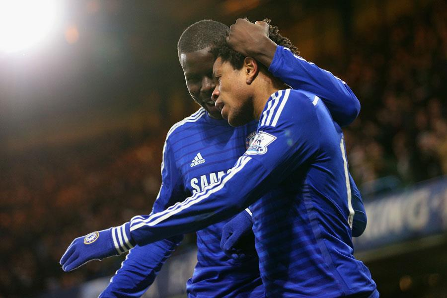 Kurt Zouma with Loic Remy playing for Chelsea ()