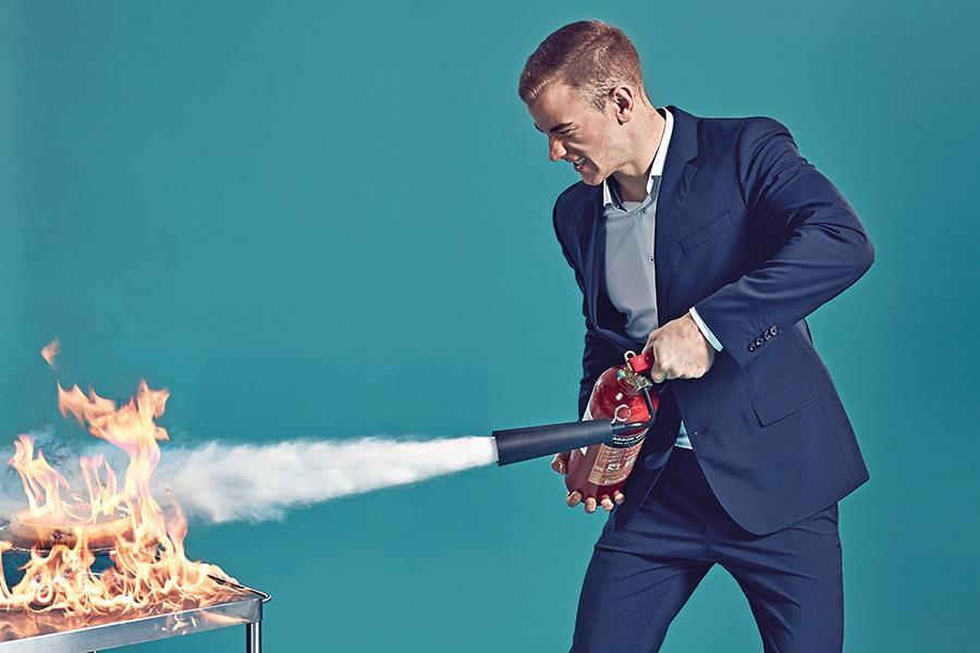 Joe Hart extinguishes fire (Steve Neaves)